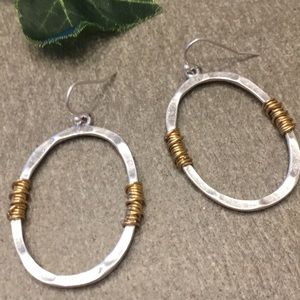 Matte Hammered Silver Gold Wire Wrapped Earrings